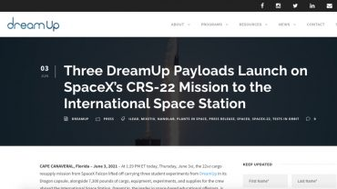 Three DreamUp Payloads Launch on SpaceX's CRS-22 Mission to the ISS